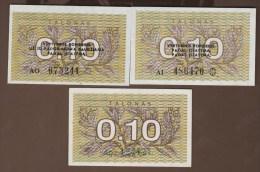 "LITHUANIA Lietuvos Respublika  LOT 0.10 TALONAS 1991 P#29a/29b/29x  ERROR   ""PAGAL ĮSTATYMĄ"" In 2nd And 3rd Li - Lituanie"