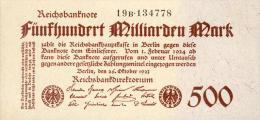 Deutschland, Germany - 500 Mrd. Mark, Reichsbanknote, Ro. 124 D,  ( Serie B ) UNC, 1923 ! - [ 3] 1918-1933 : Weimar Republic