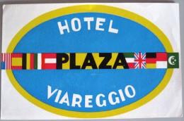 HOTEL PENSIONE ALBERGO PLAZA VIAREGGIO ITALIA ITALY DECAL STICKER LUGGAGE LABEL ETIQUETTE AUFKLEBER - Hotel Labels
