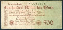 Deutschland, Germany - 500 Mrd. Mark, Reichsbanknote, Ro. 124 A,  ( Serie N ) 1923 ! - [ 3] 1918-1933 : Weimar Republic