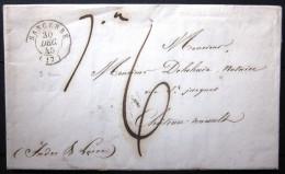 Cachet Type 15  --  SANCERRE  --  CHER  --  LAC  --  1844 - Marcophilie (Lettres)