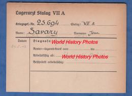 Fiche Ancienne - STALAG VII A - Prisonnier Jean SAVARY De VENDHUILE ( Aisne ) - 291e Régiment - WW2 Pow - 1939-45