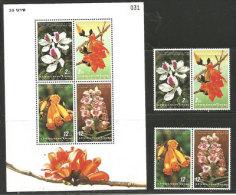 Fleurs De Thaïlande, Une Série De 4 T-p + Un BF Neufs ** - Thaïlande