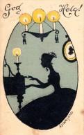 """Vintage Sweden 1919 Mailed Illustrated Mini Postcard """"God Helg"""" By Adina Sand 1 - Sweden"""