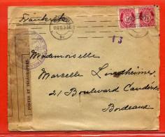 NORVEGE LETTRE CENSUREE DE 1915 DE KRISTIANA POUR BORDEAUX FRANCE - Norvège