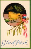 """Vintage Sweden 1934 Mailed Illustrated Mini Postcard """"Glad Pask"""" / Pascha 3 - Easter"""