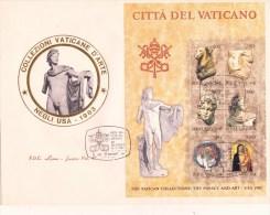 SP-590 FDC MAXI ROMA LUXOR VATICANO FOGLIETTO VIAGGIATO 1983 E TIMBRATO LE COLLEZIONI DEL VATICANO - FDC