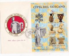 SP-591 FDC MAXI ROMA LUXOR VATICANO FOGLIETTO VIAGGIATO 1993 E TIMBRATO LE COLLEZIONI DEL VATICANO - FDC
