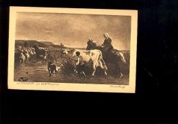 Peinture Tableau : Le Passage Du Gué Troyons Vaches Troupeau Cow Kuh ( Publicité Biscuits Vignals Lyon ) - Paintings