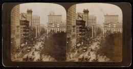 NICE STEREO CARD * THE GREAT BROADWAY - NEW YORK * TRAM - Fotos Estereoscópicas