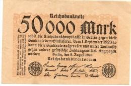 BANCONOTA GERMANIA - 50.000 MARK 1923 REICHSBANKNOTE - [ 3] 1918-1933 : Weimar Republic