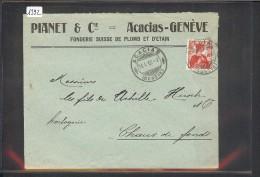 SUISSE - GENEVE - PIANET & Cie - FONDERIE PLOMB ET ETAIN - Storia Postale