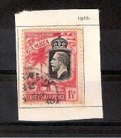 GAMBIE 1922 Effigie De George V ET  ELEPHANT   1 Timbre Oblitéré (101 ??) à Décoller Charnière - Gambie (...-1964)