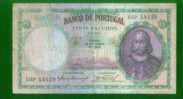 Portugal - Billet Circulé Et Usagé 20$ Esc. 28/06/1949 (billet Nettoyé Et Lavé - Taché)   Défauts -  Petit Prix - Portugal