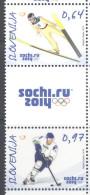 SLOVENIA, 2014, MNH, SOCHI WINTER OLYMPICS. ICE HOCKEY, SKIING, 3v. (WITH TAB) - Winter 2014: Sochi
