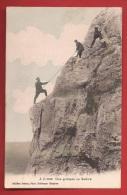 TMOI-06  Une Grimpée Au Salève, Varappe, Cordée Alpinistes.ANIME.  Jules Gras Collonges, Cachet 1911 - Other Municipalities