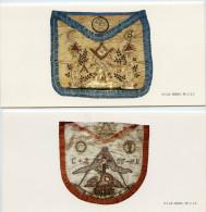 Franc-maçonnerie, 2 Encarts, Tabliers Maçonniques, Chevalier Rose-Croix, Compagnon, Musée Belge, Bruxelles - Documents Historiques