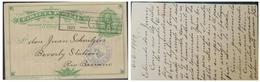 O) 1909 COSTA RICA, 2 CENTIMOS COLON - COLUMBUS, POSTAL STATIONARY VIA LIMON TO RIO BANANO, SEAL CARTAGO CR, XF - Costa Rica