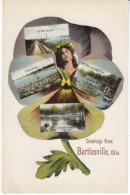 Bartlesville Oklahoma, Multi-view Greetings, Railroad, Oil Wells, Boat House, River Scene, C1900s/10s Vintage Postcard - Bartlesville
