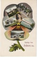 Ardmore Oklahoma, Multi-view Greetings, Railroad Library Ranch, Rod & Gun Club, C1900s Vintage Postcard - United States