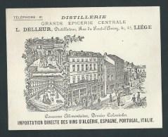 Li�ge. Carte commerciale illustr�e. Distillerie L. Delleur. Li�ge. Importation directe vins...  1898!   2 scans