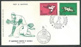 1964 SAN MARINO FDC FILAGRANO EUROPEO DI BASEBALL NO TIMBRO ARRIVO - RD15-3 - FDC