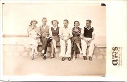 """PAREJAS COUPLES DOUBLET OLD FASHION CLOTHES VINTAGE MAR DEL PLATA """"CASA FOTO ARIS"""" AÑO CIRCA 1938 NO CIRCULADA GECKO - Koppels"""