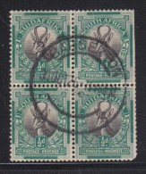 South Africa, 1927, 1/2d Springbok, Inverted Watewrmark, Block Of 4, Used BARBERTON 30 OC 36 C.d.s. - Used Stamps