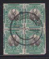 South Africa, 1927, 1/2d Springbok, Inverted Watewrmark, Block Of 4, Used BARBERTON 30 OC 36 C.d.s. - Sud Africa (...-1961)