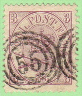 "DEN SC #12  1865 Royal Emblems ""56"" (Ringkjobing) 3-ring Cancel, W/pinhole In UR Quadrant CV $75.00 - 1864-04 (Christian IX)"