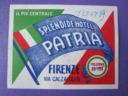 HOTEL PENSIONE ALBERGO SPLENDID PATRIA FIRENZE FLORENCE ITALIA ITALY DECAL STICKER LUGGAGE LABEL ETIQUETTE AUFKLEBER - Hotel Labels