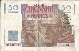 Billet 50 Fr LE VERRIER  D 2 5 1946 D    64091 - 1871-1952 Circulated During XXth