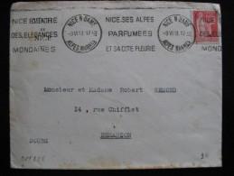 O.M. 228 -  TB Enveloppe Affranchie Avec N° 283 . De Nice Pour Besançon ( 03/06/1933). - Marcophilie (Lettres)