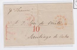 "PREFI-243. CUBA SPAIN ESPAÑA. MARITIME MAIL. STAMPLESS. 1848. CARTA LONDON TO HAVANA. UK. SHIP ""THAMES"". TAS - Cuba"