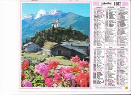 Almanach Des PTT 1987, Hameau Du Châtelard Et Massif Du Mont Pourri (73) / Annecy (74), Pont Des Amours,, OBERTHUR - Calendriers