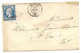 Lettre Avec Petit Chiffre De Mayssac (18) N) 1986 Frappe Superbe Des Deux Cachet Et Petite Variété Sur Le Timbre  Rare - 1849-1876: Classic Period