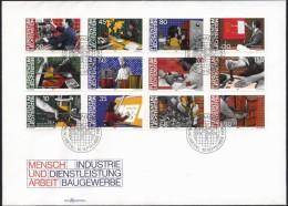 Mint FDC People And Work Industrial Service Building Trade 1984  From Liechtenstein - Jobs
