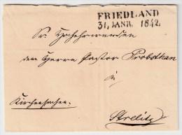 """Mechlenburg, 1842, """" FRIEDLAND """" ,  #1015 - Mecklenburg-Schwerin"""