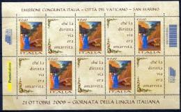 Italia Repubblica 2009 - Foglietto Giornata Della Lingua Italiana Nuovo MNH Con Codice A Barre - Blocchi & Foglietti