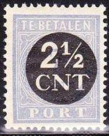 1923 Strafportzegels Der Uitgifte 1912-20 Overdrukt In Zwart 2½ Cent / 7 Cent (53) Postfris NVPH 62 - Strafportzegels