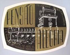 HOTEL PENSAO RESIDENCIAL PENSION ALEGRIA LISBOA TAG DECAL STICKER LUGGAGE LABEL ETIQUETTE AUFKLEBER PORTUGAL - Etiquettes D'hotels