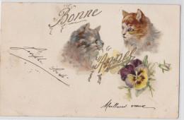 Chats Dessinés - Bonne Année 1902 - Chat - Katzen