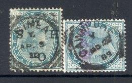 INDIA, Squared Circle Postmark ´SIMLA ´, ´CAWNPORE´ On Q Victoria Stamp - 1882-1901 Empire