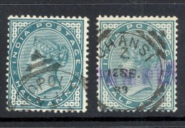 INDIA, Squared Circle Postmark ´TRICHINOPOLY ´, ´JHANSI´ On Q Victoria Stamp - 1882-1901 Empire
