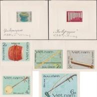 Vietnam 1985 Y&T 637/43. Essais Avec Timbres De Démonstration. Instruments De Musique. Tambour, Pierres Sonores, Flûte, - Musique