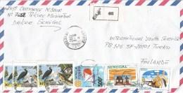 Senegal 1992 Pikine Flamingo Heron Snake Butterfly Rotary Ralley Paris-Dakar Registered Cover - Senegal (1960-...)