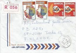 Senegal 1993 Oussouye Tiger Crab Marine Life Registered Cover - Senegal (1960-...)