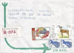 Senegal 1992 Dakar Medina Carb Marine Life Bubale Antilope Registered Cover - Senegal (1960-...)