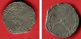 1/4 ECU 1581 T    TB  38 - 1574-1589 Henri III