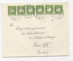 LETTRE DANEMARK ADRESSEE  A PARIS COVER FRANCE CHAMPIGNONS MUSHROOM CYGNE SWANN BIRD OISEAUX - 1913-47 (Christian X)